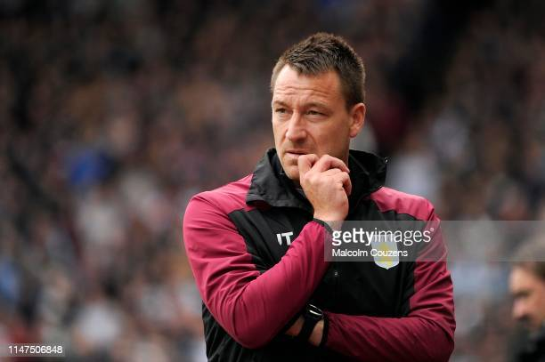 John Terry of Aston Villa looks on during the Sky Bet Championship game between Aston Villa and Norwich City at Villa Park on May 05, 2019 in...