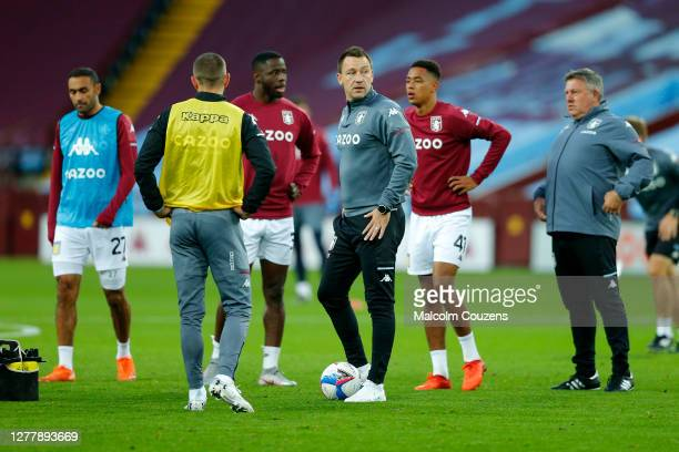 John Terry of Aston Villa looks on during the warm-up before the Carabao Cup fourth round match between Aston Villa and Stoke City at Villa Park on...