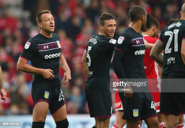 John Terry of Aston Villa organises his defence during the Sky Bet Championship Play Off Semi FinalFirst Leg match between Middlesbrough and Aston...