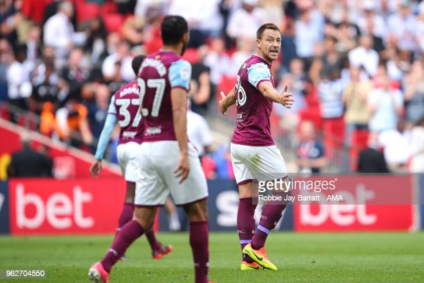 John Terry of Aston Villa reacts after conceding the first goal during the Sky Bet Championship Play Off Final between Aston Villa and Fulham at...