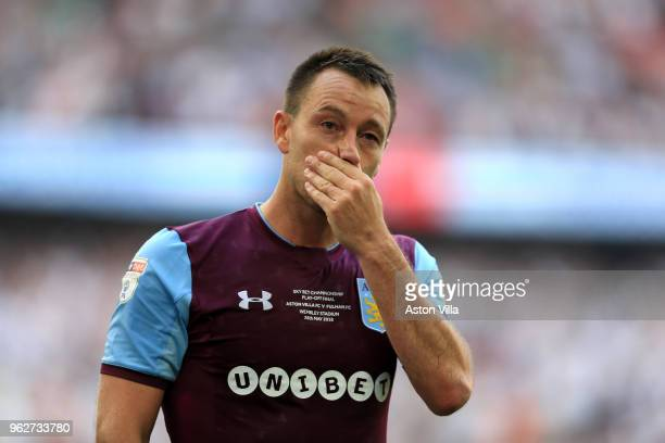 John Terry of Aston Villa reacts following defeat during the Sky Bet Championship Play Off Final between Aston Villa and Fulham at Wembley Stadium on...