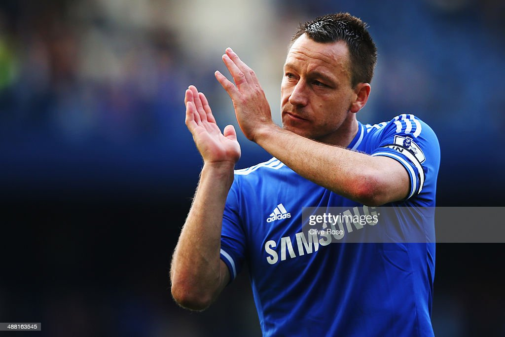 John Terry of Chelsea acknowledges the crowd following the Barclays Premier League match between Chelsea and Norwich City at Stamford Bridge on May 4, 2014 in London, England.
