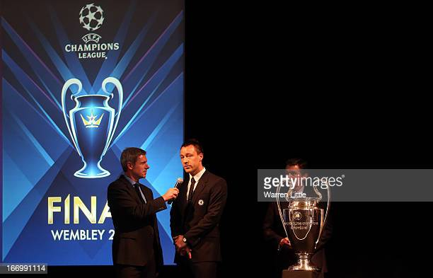 John Terry of Chelsea addresses the media during the UEFA Champions League and UEFA Women's Champions League Cup handover ceremony at Banqueting...