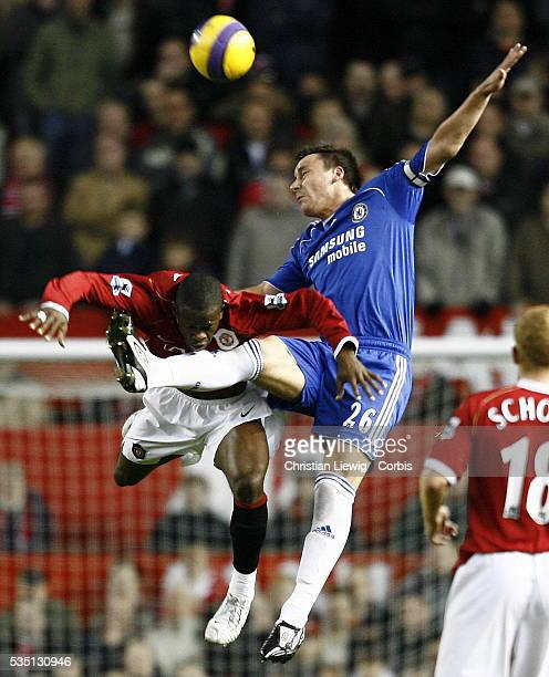 John Terry of Chelsea and Louis Saha of Manchester during the English Premier League match Manchester United vs. Chelsea in Manchester, England, UK.