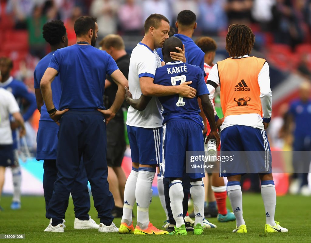 John Terry of Chelsea and N'Golo Kante of Chelsea embrace after The Emirates FA Cup Final between Arsenal and Chelsea at Wembley Stadium on May 27, 2017 in London, England.