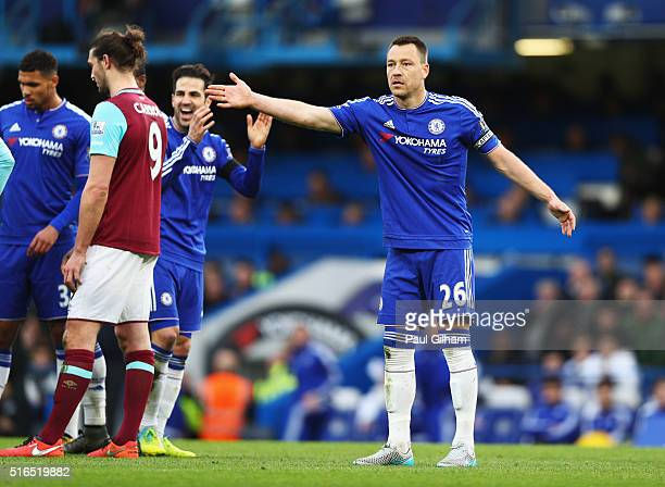 John Terry of Chelsea appeals to an assistant referee during the Barclays Premier League match between Chelsea and West Ham United at Stamford Bridge...
