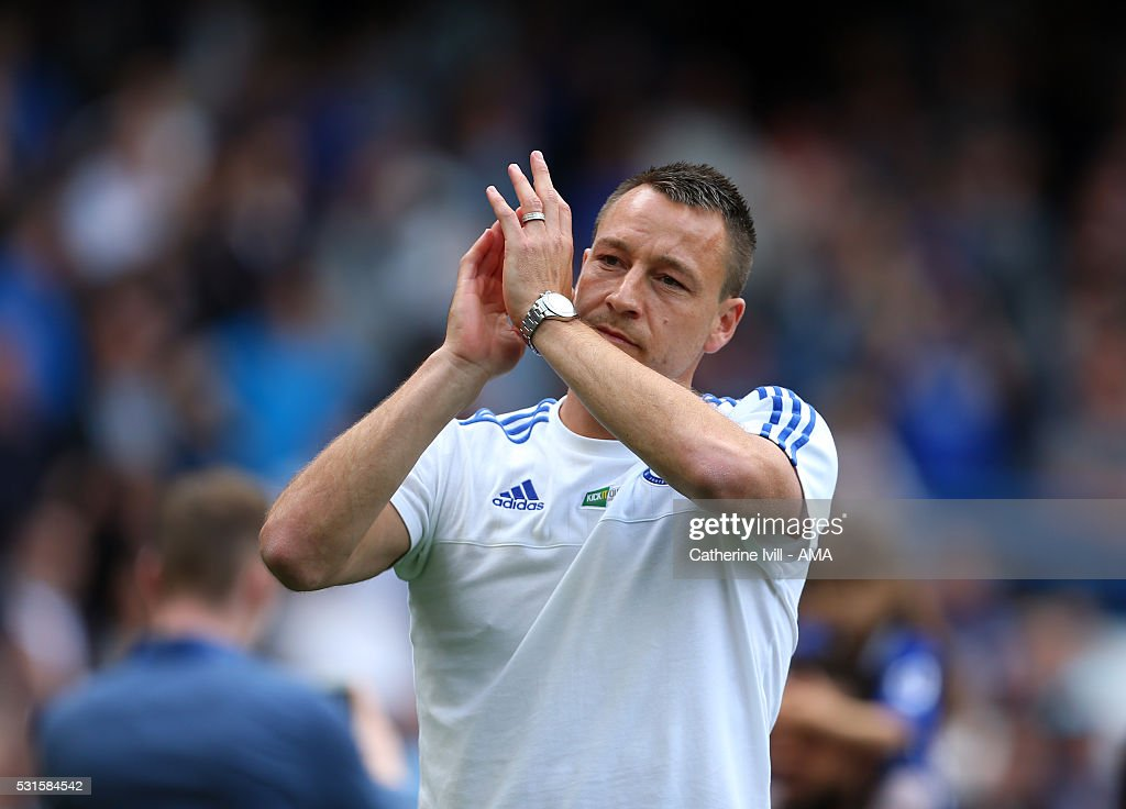 John Terry of Chelsea applauds after the Barclays Premier League match between Chelsea and Leicester City at Stamford Bridge on May 15, 2016 in London, England.