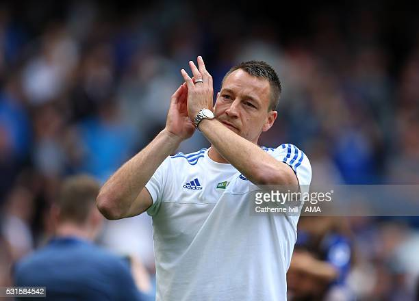 John Terry of Chelsea applauds after the Barclays Premier League match between Chelsea and Leicester City at Stamford Bridge on May 15 2016 in London...