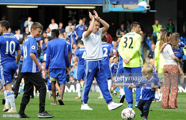 John Terry of Chelsea applauds the fans during a lap of honour after the Premier League match between Chelsea and Leicester City at Stamford Bridge...