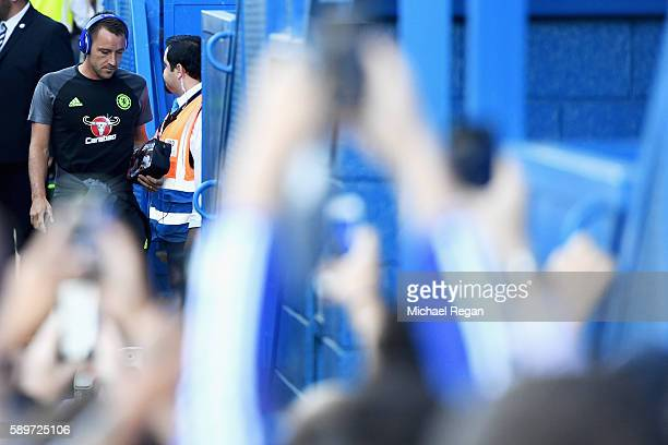 John Terry of Chelsea arrives for the Premier League match between Chelsea and West Ham United at Stamford Bridge on August 15 2016 in London England