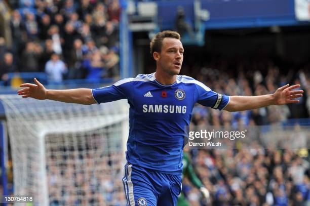 John Terry of Chelsea celebrates a goal during the Barclays Premier League match between Chelsea and Arsenal at Stamford Bridge on October 29 2011 in...
