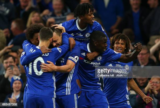 John Terry of Chelsea celebrates after scoring during the Premier League match between Chelsea and Watford at Stamford Bridge on May 15 2017 in...