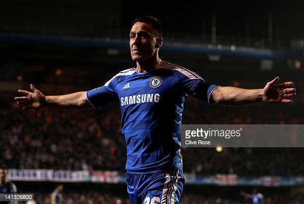 John Terry of Chelsea celebrates after scoring his team's second goal during the UEFA Champions League round of 16 second leg match between Chelsea...