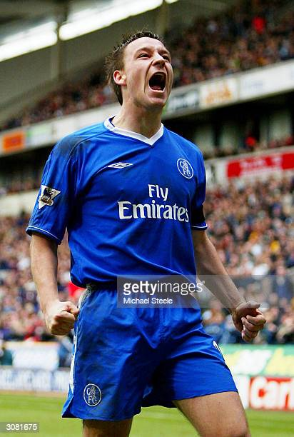 John Terry of Chelsea celebrates after scoring the first goal during the FA Barclaycard Premiership match between Bolton Wanderers and Chelsea at The...