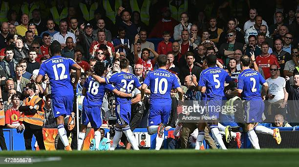 John Terry of Chelsea celebrates after scoring the opening goal during the Barclays Premier League match between Chelsea and Liverpool at Stamford...