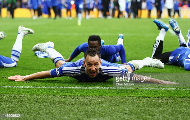 John Terry of Chelsea celebrates after the FA Cup with Budweiser Final match between Liverpool and Chelsea at Wembley Stadium on May 5 2012 in London...