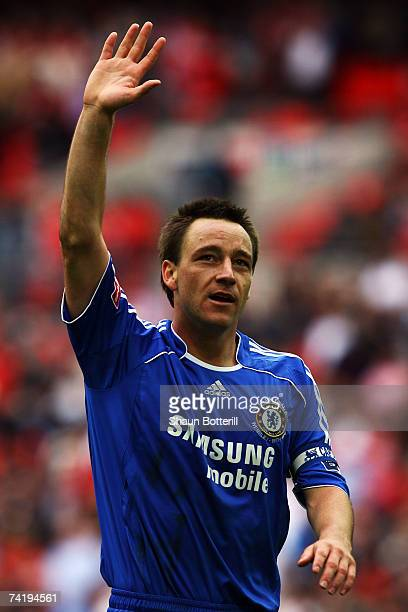 John Terry of Chelsea celebrates following the FA Cup Final match sponsored by E.ON between Manchester United and Chelsea at Wembley Stadium on May...