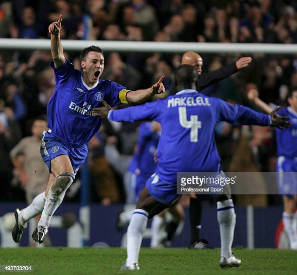 John Terry of Chelsea celebrates his goal during the UEFA Champions League First Knockout Round Second Leg match between Chelsea and Barcelona at...