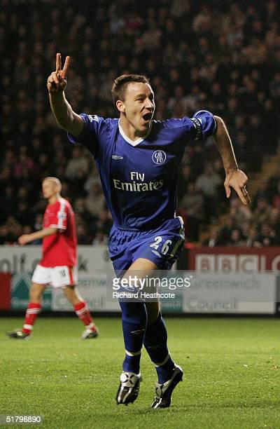 John Terry of Chelsea celebrates scoring his 2nd goal during the Barclays Premiership match between Charlton Athletic and Chelsea, held at The Valley...
