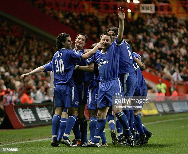 John Terry of Chelsea celebrates scoring his 2nd goal during the Barclays Premiership match between Charlton Athletic and Chelsea held at The Valley...
