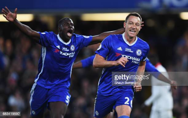 John Terry of Chelsea celebrates scoring his sides first goal with Kurt Zouma of Chelsea during the Premier League match between Chelsea and Watford...