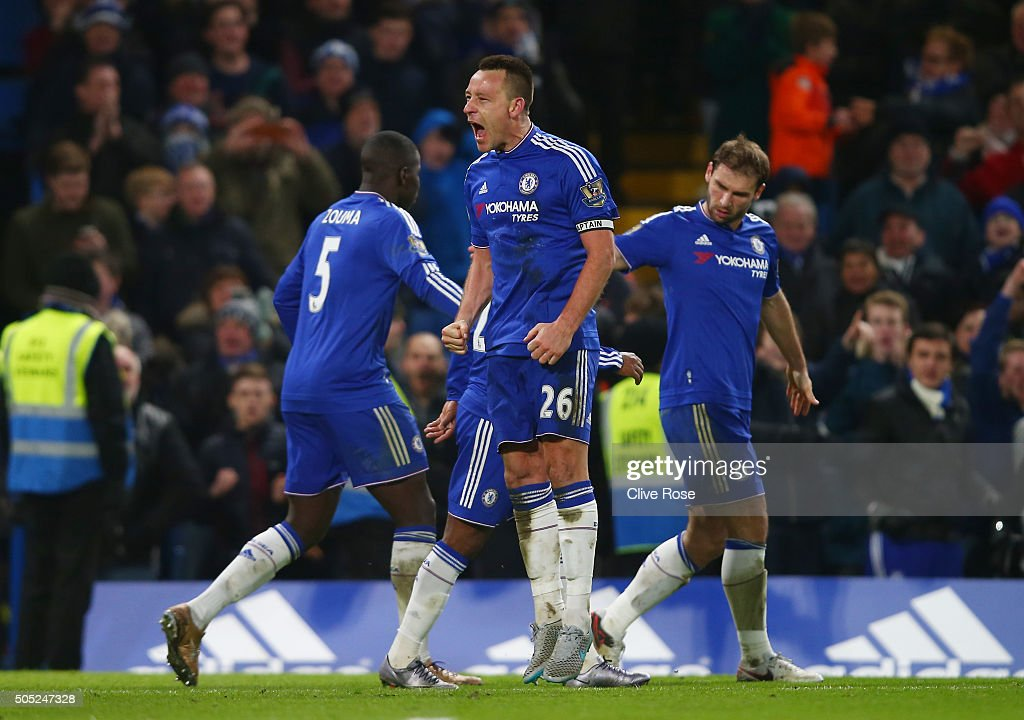 John Terry of Chelsea celebrates scoring his team's third goal during the Barclays Premier League match between Chelsea and Everton at Stamford Bridge on January 16, 2016 in London, England.