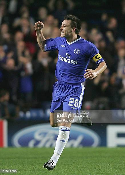 John Terry of Chelsea celebrates scoring the first goal for Chelsea during the UEFA Champions League Group H match between Chelsea and CSKA Moscow at...