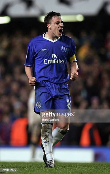 John Terry of Chelsea celebrates scoring the fourth goal during the UEFA Champions League First Knockout Round Second Leg match between Chelsea and...