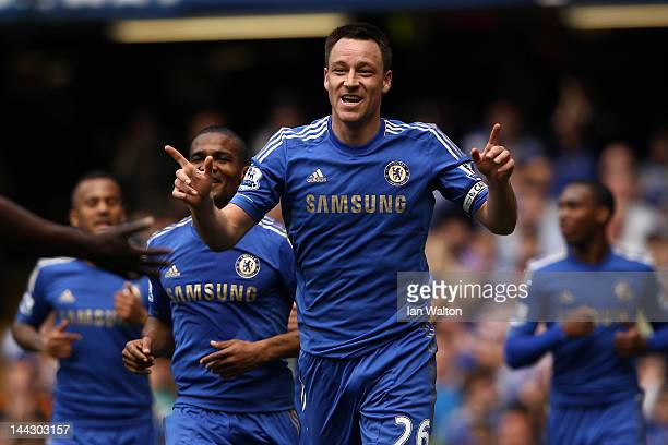 John Terry of Chelsea celebrates soring their first goal during the Barclays Premier League match between Chelsea and Blackburn Rovers at Stamford...