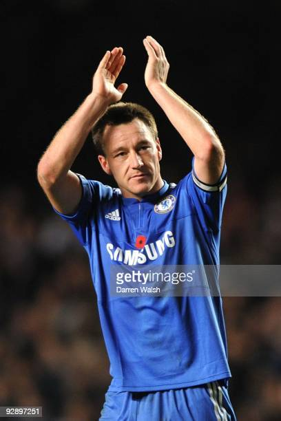 John Terry of Chelsea celebrates victory after the Barclays Premier League match between Chelsea and Mancester United at Stamford Bridge on November...