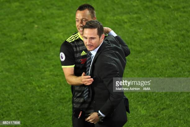 John Terry of Chelsea celebrates winning the league with Frank Lampard at the end of the Premier League match between West Bromwich Albion and...