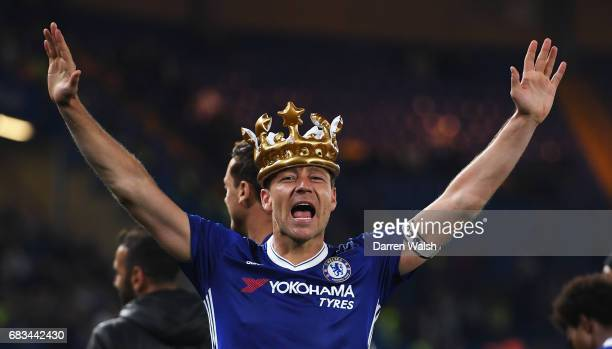 John Terry of Chelsea celebrates with a inflatable after the Premier League match between Chelsea and Watford at Stamford Bridge on May 15 2017 in...