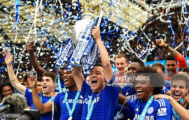 John Terry Of Chelsea Celebrates With The Trophy After The Barclays Premier League Match Between Chelsea