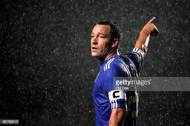 John Terry of Chelsea directs his defence during the UEFA Champions League Group D match between Chelsea and FC Porto at Stamford Bridge on September...