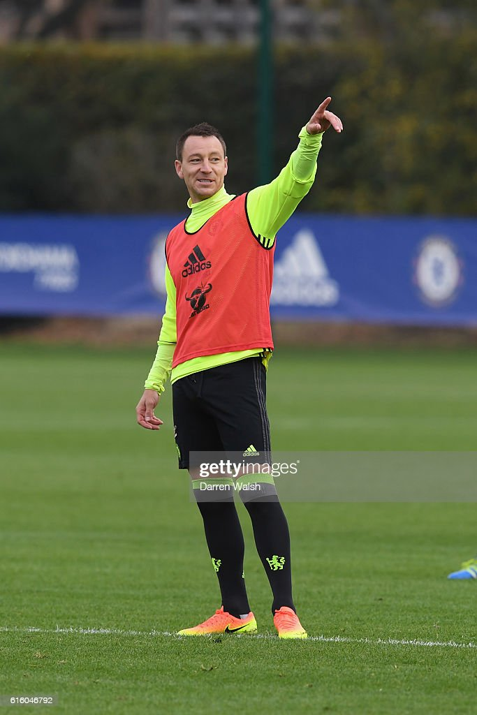 John Terry of Chelsea during a training session at Chelsea Training Ground on October 21, 2016 in Cobham, England.