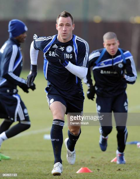 John Terry of Chelsea during a training session at Cobham Training ground on February 19 2010 in Cobham England