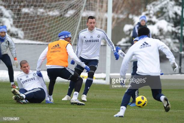John Terry of Chelsea during a training session at the Cobham training ground on December 3 2010 in Cobham England