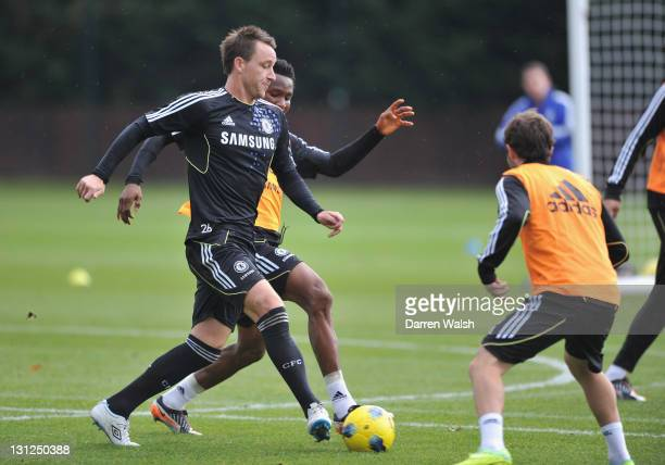 John Terry of Chelsea during a training session at the Cobham training ground on November 3 2011 in Cobham England