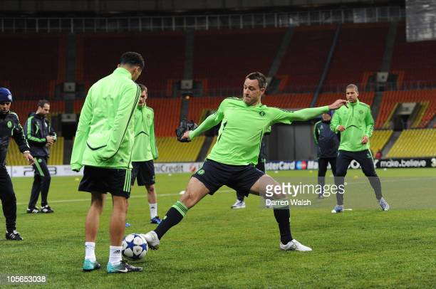 John Terry of Chelsea during the Chelsea training session, ahead of the UEFA Champions League Group F match against Spartak Moscow at Luzhniki...