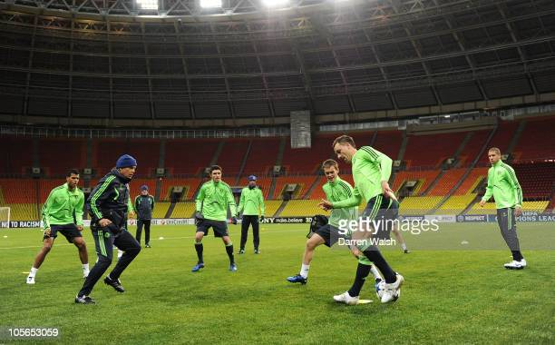 John Terry of Chelsea during the Chelsea training session ahead of the UEFA Champions League Group F match against Spartak Moscow at Luzhniki Stadium...
