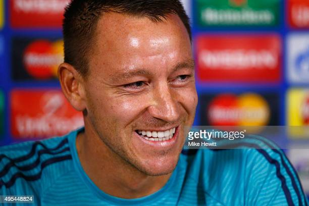 John Terry of Chelsea faces the media during a Chelsea press conference ahead of the UEFA Champions League Group G match between Chelsea and Dynamo...
