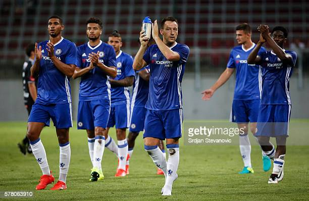 John Terry of Chelsea greet the fans with his team mates after the international friendly match between WAC RZ Pellets and Chelsea FC at Worthersee...