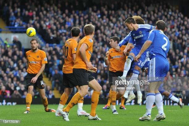 John Terry of Chelsea heads in the opening goal during the Barclays Premier League match between Chelsea and Wolverhampton Wanderers at Stamford...