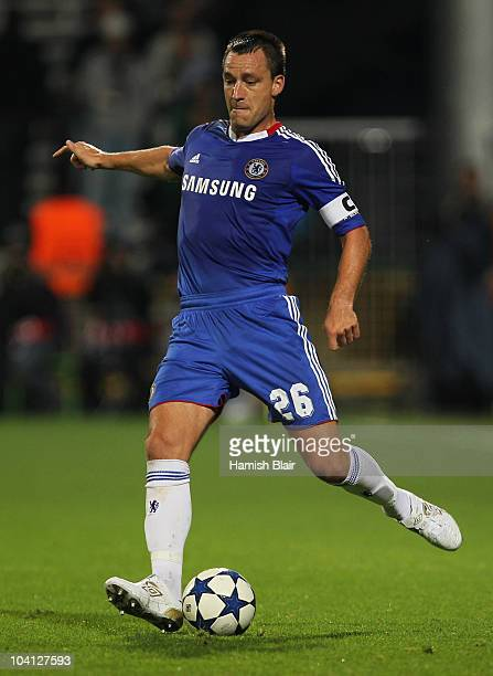 John Terry of Chelsea in action during the UEFA Champions League Group F match between MSK Zilina and Chelsea at the Pod Dubnom Stadium on September...