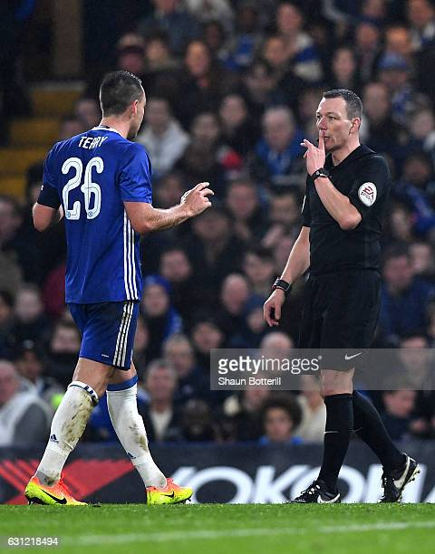 John Terry of Chelsea is shown a red card by referee Kevin Friend during The Emirates FA Cup Third Round match between Chelsea and Peterborough...