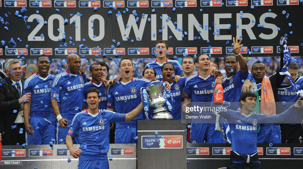 John Terry of Chelsea leads the celebrations with his team after winning the FA Cup sponsored by E.ON Final match between Chelsea and Portsmouth at Wembley Stadium on May 15, 2010 in London, England.