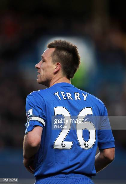 John Terry of Chelsea looks on during the FA Cup sponsored by E.on Quarter Final match between Chelsea and Stoke City at Stamford Bridge on March 7,...