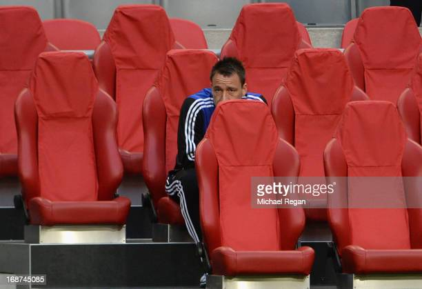 John Terry of Chelsea looks on from the seats during a Chelsea training session ahead of the UEFA Europa League Final match against SL Benfica at the...