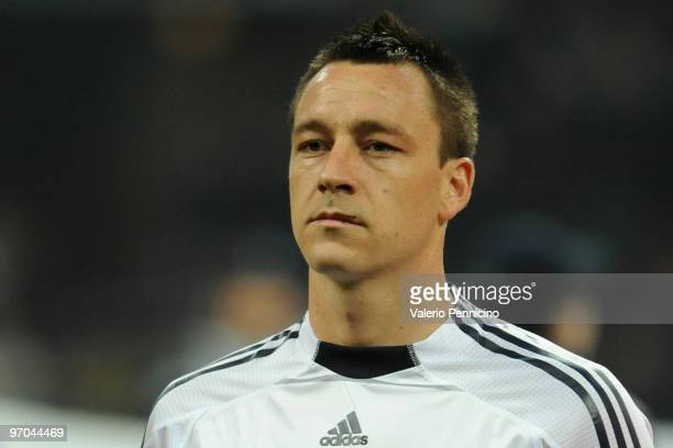 John Terry of Chelsea looks on prior to the UEFA Champions League round of 16 first leg match between Inter Milan and Chelsea on February 24 2010 in...