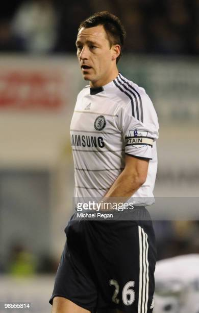 John Terry of Chelsea makes an adjustment during the Barclays Premier League match between Everton and Chelsea at Goodison Park on February 10 2010...